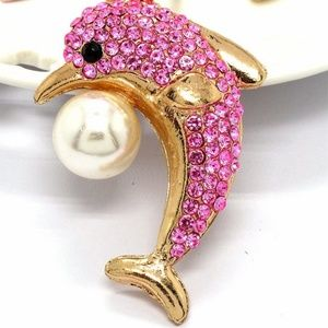 Jewelry - New Pink Crystal Pearl Dolphin Fish Necklace Long